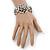 Vintage Crystal Rose Flex Bracelet In Burn Silver Metal - Up to 21cm Length - view 6