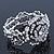 Vintage Crystal Rose Flex Bracelet In Burn Silver Metal - Up to 21cm Length - view 2