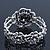 Vintage Crystal Rose Flex Bracelet In Burn Silver Metal - Up to 21cm Length - view 3