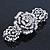 Vintage Crystal Rose Flex Bracelet In Burn Silver Metal - Up to 21cm Length - view 4
