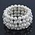Prom Clear Diamante, White Simulated Pearl Flex Bracelet - 18cm Length