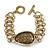 Vintage 'Cracked Effect' Oval Bracelet With T-Bar Closure In Burn Gold Metal - 18cm Length