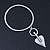 Contemporary Heart Charm Bangle Bracelet In Silver Plating - up to 19cm length