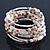 Vintage Style 'Daisy' Glass&Ceramic Bead Coil Flex Bracelet - Light Cream - view 2