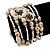 Vintage Style 'Daisy' Glass&Ceramic Bead Coil Flex Bracelet - Light Cream