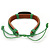 Unisex Dark Brown/ Green Leather 'Peace' Friendship Bracelet - Adjustable - view 3