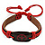 Unisex Dark Brown/ Red Leather 'Peace' Friendship Bracelet - Adjustable - view 5