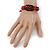 Unisex Dark Brown/ Red Leather 'Peace' Friendship Bracelet - Adjustable - view 2