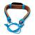 Unisex Dark Brown/ Light Blue Leather 'Peace' Friendship Bracelet - Adjustable - view 3
