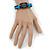 Unisex Dark Brown/ Light Blue Leather 'Peace' Friendship Bracelet - Adjustable - view 4
