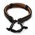 Unisex Black Leather Friendship Bracelet - Adjustable - view 3