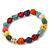 Multicoloured 'Skull' Stone Bead Flex Bracelet - 10mm - up 20cm Length - view 2