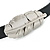 Black Leather Feather Wrap Bracelet (Silver Tone) - Adjustable - One size fits all - view 2