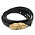 Black Leather Feather Wrap Bracelet (Gold Tone) - Adjustable - One size fits all