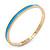 Thin Sky Blue Enamel 'RAIN OR SHINE' Slip-On Bangle Bracelet In Gold Plating - 18cm Length