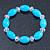 Light Blue/ Transparent Glass Bead Stretch Bracelet - 17cm Length