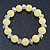 Lemon Yellow/ Transparent Round Glass Bead Stretch Bracelet - up to 18cm Length