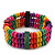 Multicoloured Wood Bead & Bar Flex Bracelet - 18cm Length - view 3