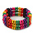 Multicoloured Wood Bead & Bar Flex Bracelet - 18cm Length - view 2