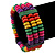 Multicoloured Wood Bead & Bar Flex Bracelet - 18cm Length