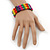 Multicoloured Wood Bead & Bar Flex Bracelet - 18cm Length - view 4