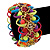 Multicoloured Acrylic Bead, Skull & Chain Flex Bracelet - Up to 19cm length - view 4