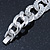 Glamorous Chunky Rhodium Plated Swarovski Elements Crystal Encrusted Chain Link Bracelet - 18cm Length - view 6