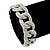 Glamorous Chunky Rhodium Plated Swarovski Elements Crystal Encrusted Chain Link Bracelet - 18cm Length - view 2
