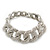 Glamorous Chunky Rhodium Plated Swarovski Elements Crystal Encrusted Chain Link Bracelet - 18cm Length - view 8