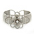 Fancy Glass Bead Floral Cuff Bracelet In Silver Tone - Adjustable - White - view 8