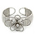 Fancy Glass Bead Floral Cuff Bracelet In Silver Tone - Adjustable - White - view 2