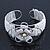 Fancy Glass Bead Floral Cuff Bracelet In Silver Tone - Adjustable - White