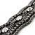 Wide Gun Metal Mesh Chain Structured Bracelet With Clear Crystals - 17cm (9cm Extension) - view 6