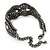 Wide Gun Metal Mesh Chain Structured Bracelet With Clear Crystals - 17cm (9cm Extension) - view 7