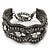 Wide Gun Metal Mesh Chain Structured Bracelet With Clear Crystals - 17cm (9cm Extension) - view 4