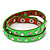 Neon Green Leather Style Crystal and Spike Studded Wrap Bracelet - Adjustable (One Size Fits All)