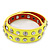 Neon Yellow Leather Style Crystal and Spike Studded Wrap Bracelet - Adjustable (One Size Fits All)