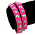 Neon Pink Leather Style Crystal and Spike Studded Wrap Bracelet - Adjustable (One Size Fits All) - view 2