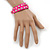 Neon Pink Leather Style Crystal and Spike Studded Wrap Bracelet - Adjustable (One Size Fits All) - view 3