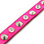 Neon Pink Leather Style Crystal and Spike Studded Wrap Bracelet - Adjustable (One Size Fits All) - view 6