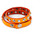 Neon Orange Leather Style Crystal and Spike Studded Wrap Bracelet - Adjustable (One Size Fits All) - view 4