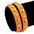 Neon Orange Leather Style Crystal and Spike Studded Wrap Bracelet - Adjustable (One Size Fits All) - view 2