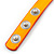 Neon Orange Leather Style Crystal and Spike Studded Wrap Bracelet - Adjustable (One Size Fits All) - view 5