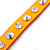 Neon Orange Leather Style Crystal and Spike Studded Wrap Bracelet - Adjustable (One Size Fits All) - view 6