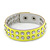 Crystal Studded Neon Yellow Faux Leather Strap Bracelet - Adjustable up to 20cm