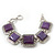 Vintage Amethyst Square Ceramic Etched Bracelet With Toggle Clasp -18cm Length/ 2cm Extension - view 8