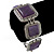 Vintage Amethyst Square Ceramic Etched Bracelet With Toggle Clasp -18cm Length/ 2cm Extension - view 4