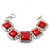 Vintage Coral Red Square Ceramic Etched Bracelet With Toggle Clasp -18cm Length/ 2cm Extension - view 2