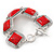 Vintage Coral Red Square Ceramic Etched Bracelet With Toggle Clasp -18cm Length/ 2cm Extension - view 6