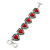 Vintage Inspired 'Hearts' With Red Ceramic Stones Bracelet With T-Bar Closure In Burn Silver Metal - 18cm Length - view 1